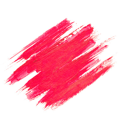 Red watercolor texture paint stain brush stroke isolated on white background