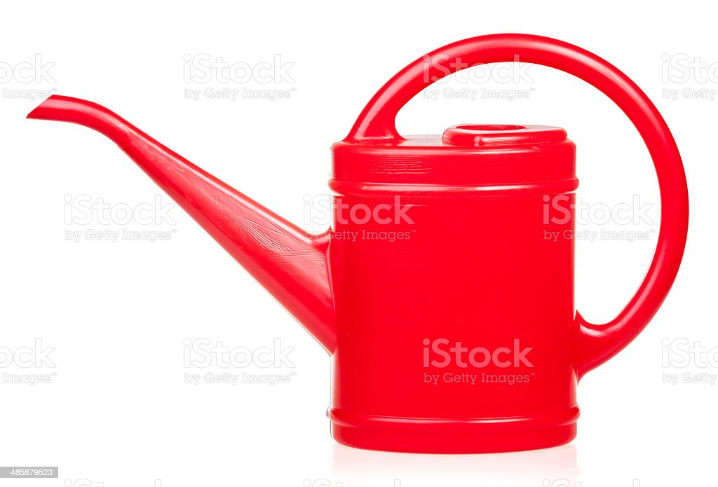 Red watering pot stock photo