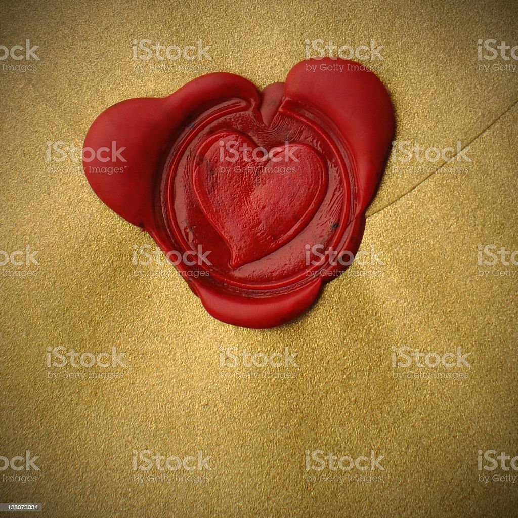 Red Wax Heart Seal Love Letter stock photo