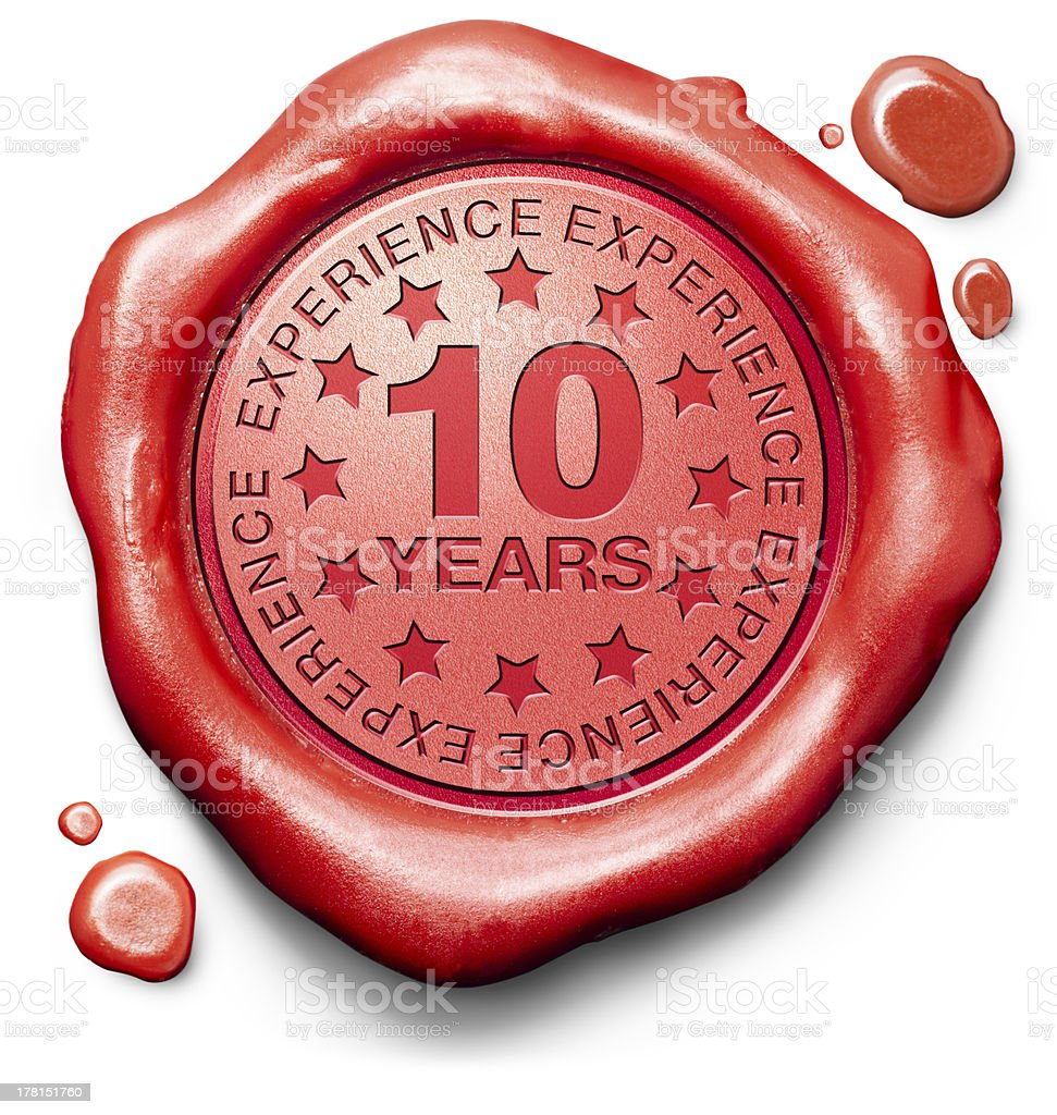 A red wax seal, commemorating 10 years of experience stock photo