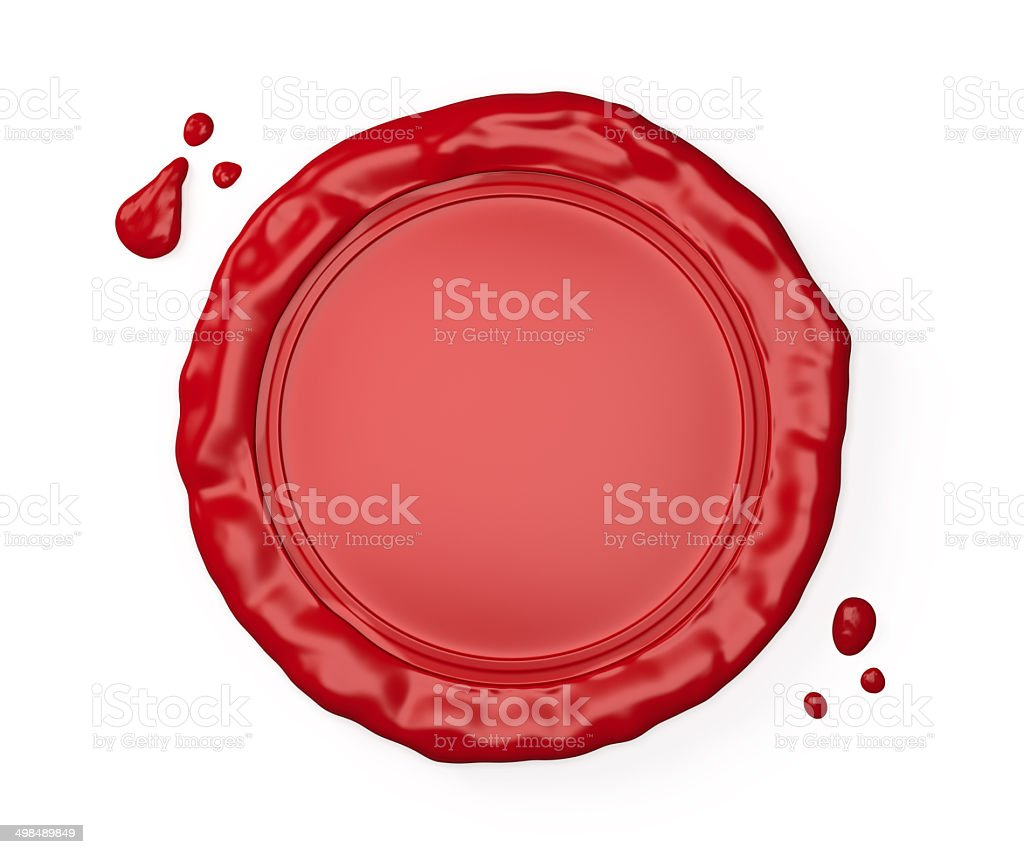 Red wax seal isolated on white stock photo