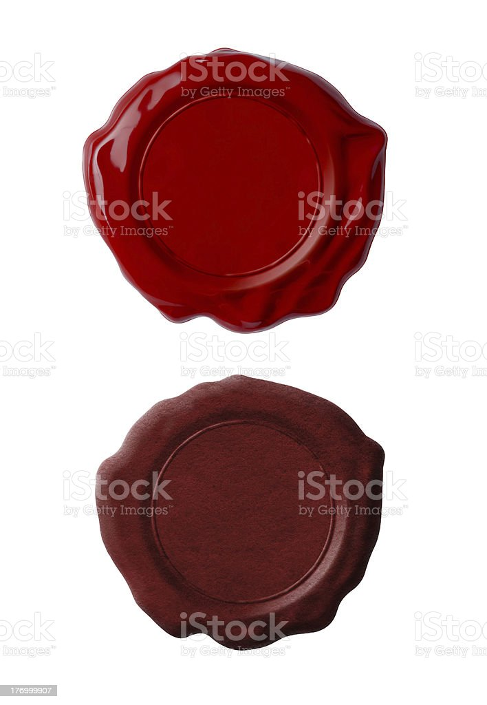Red wax seals set isolated on white stock photo