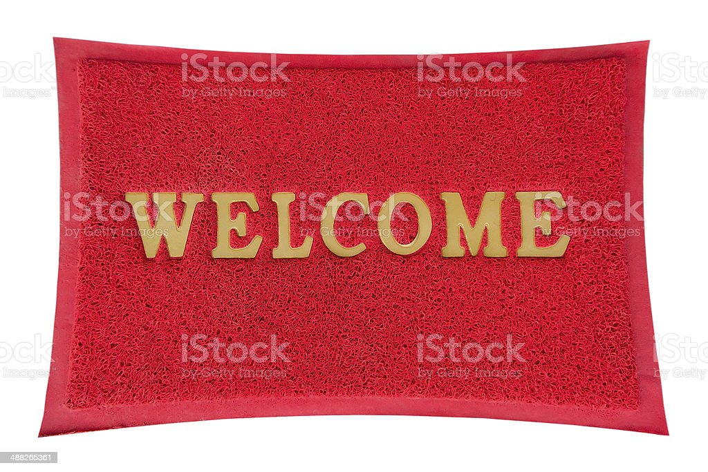 Red welcome mat isolated on a white background. stock photo