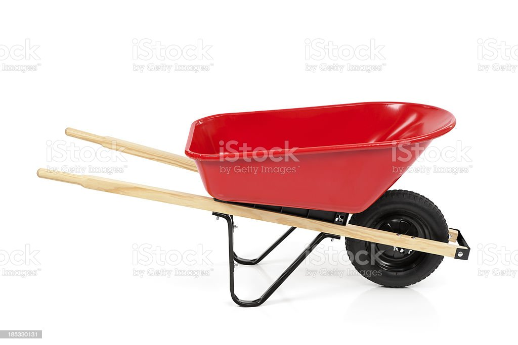 Red Wheelbarrow Isolated stock photo