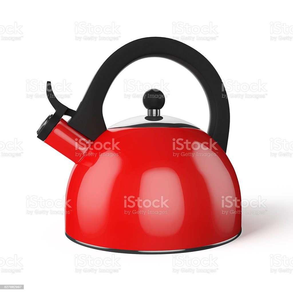 Red whistle kettle isolated on white stock photo