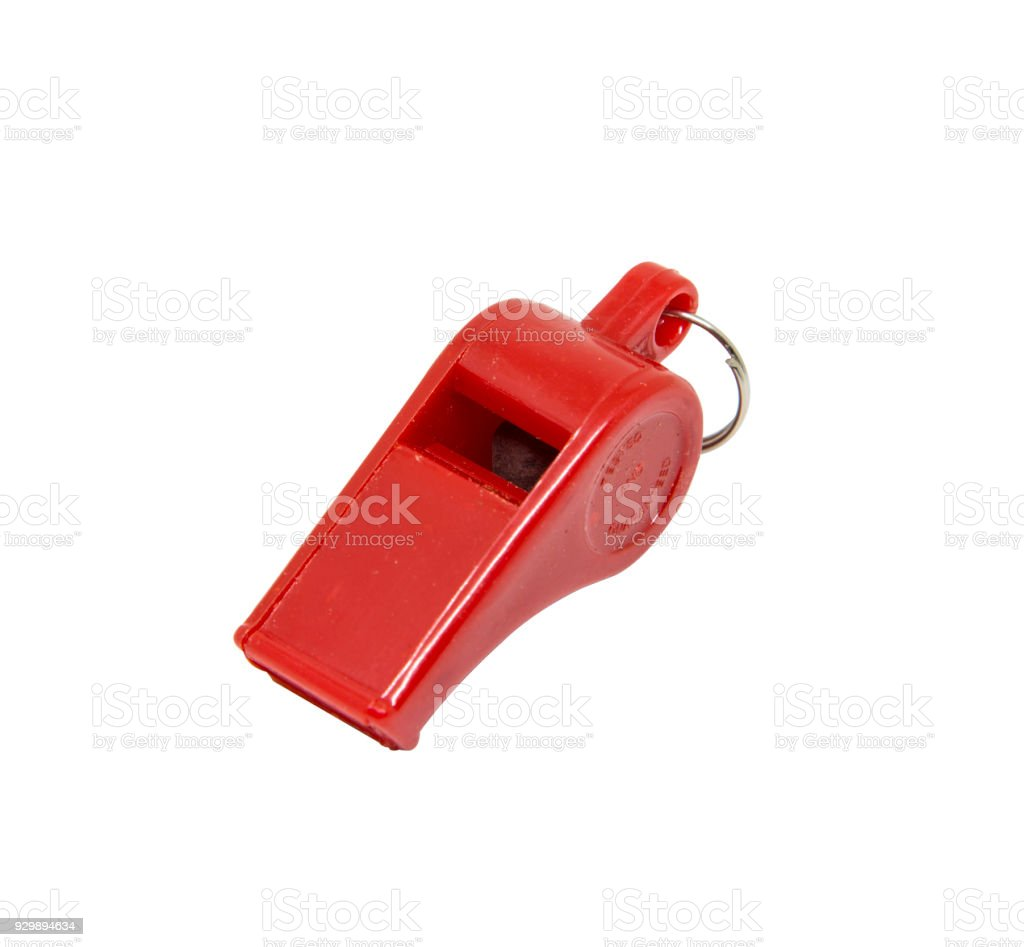 Red whistle on white background royalty-free stock photo