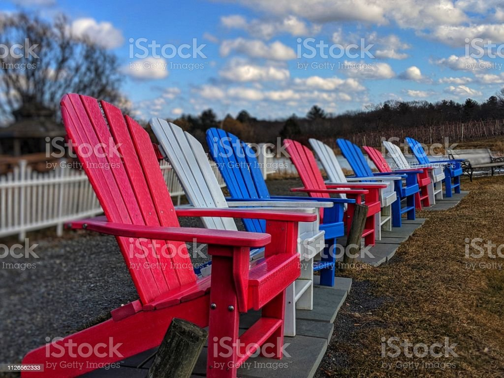 Peachy Red White And Blue Adirondack Chairs Stock Photo Download Short Links Chair Design For Home Short Linksinfo
