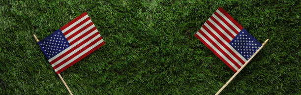Red, white, and blue American flags on grass for Memorial Day or Veteran's day background stock photo