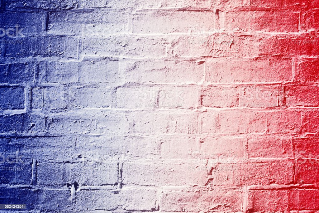 Red White and Blue Brick Wall Background Texture stock photo