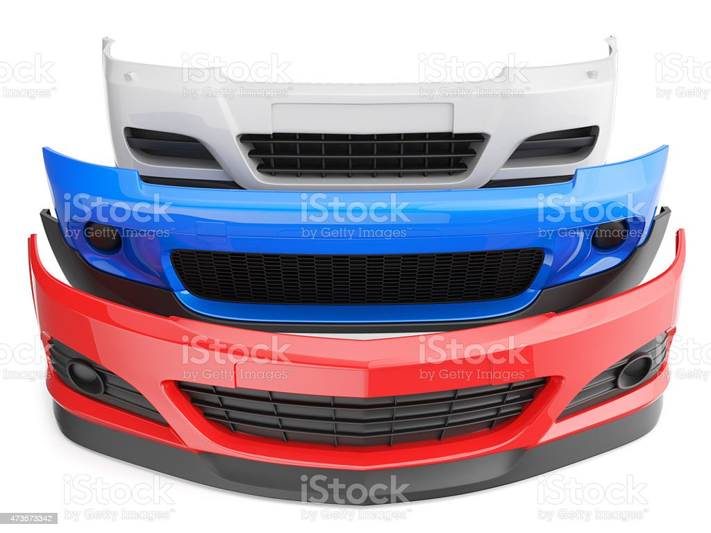 Red, white, and blue car bumpers stacked up stock photo
