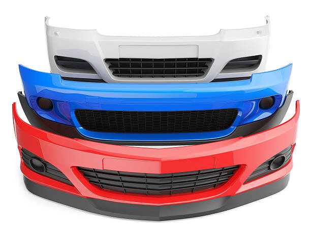 Red, white, and blue car bumpers stacked up bumper bumpers isolated car auto front fender parts plastic automobile body bumper stock pictures, royalty-free photos & images
