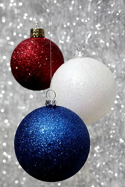 Red White and blue Christmas Ornaments stock photo