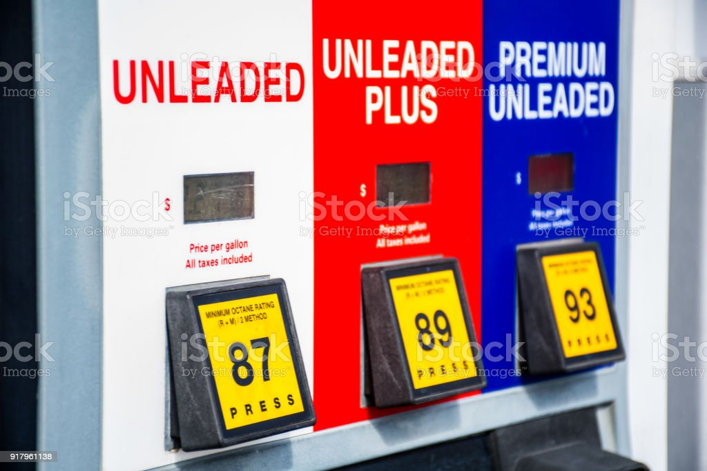 Red, white, and blue colors at the gas pump choices of unleaded gasoline and octane rating stock photo