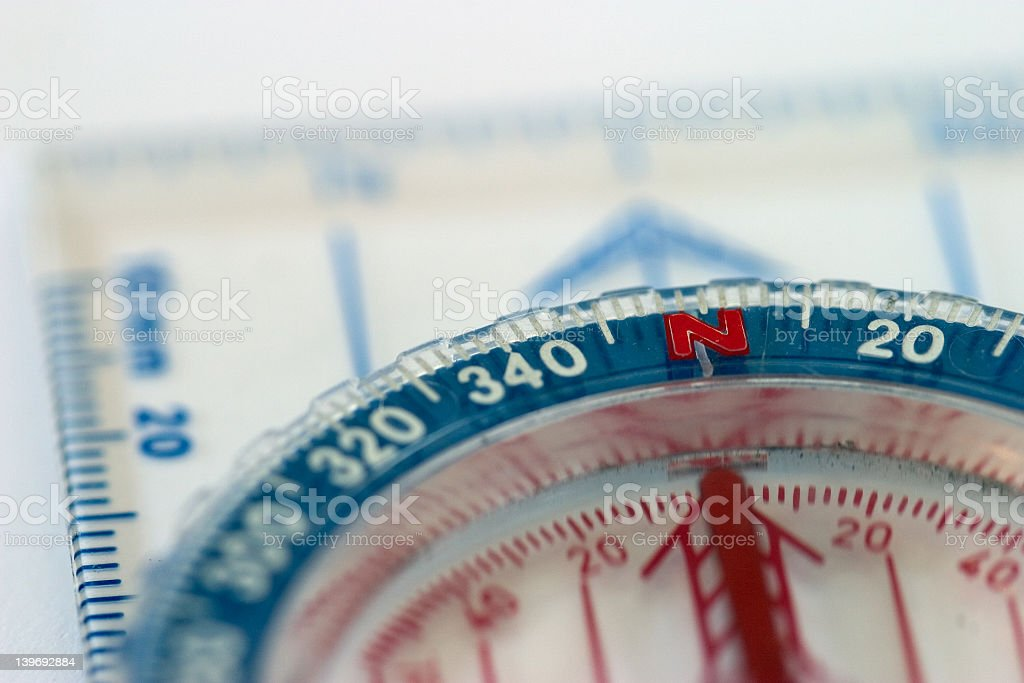 A red white and blue compass macro royalty-free stock photo
