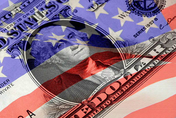 Red, White, and Blue Financial Symbols stock photo