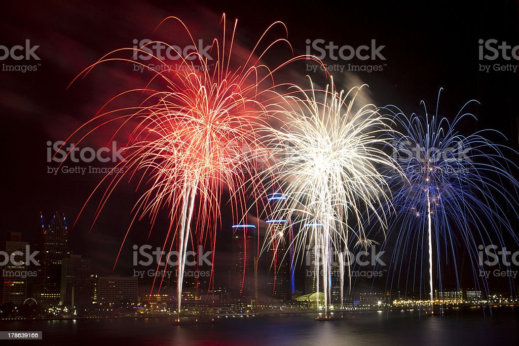 Red Fireworks Free Stock Photo: Red White And Blue Fireworks In Detroit Stock Photo & More