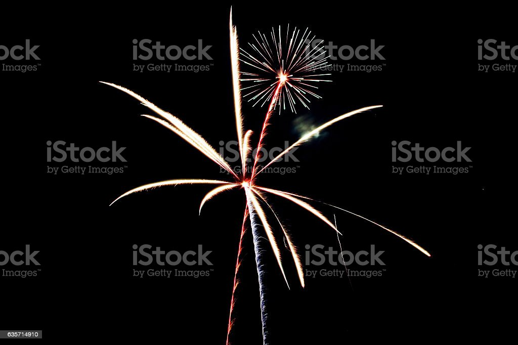 Red, white and blue fireworks royalty-free stock photo