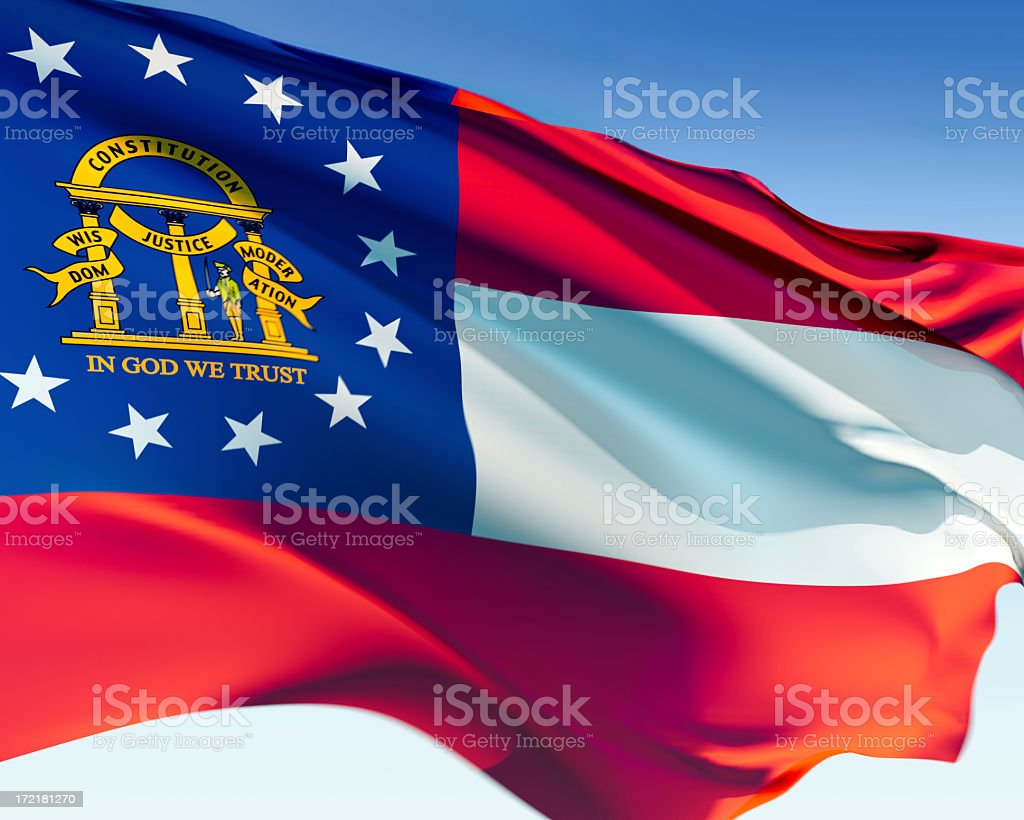 Red white and blue flag of Georgia royalty-free stock photo