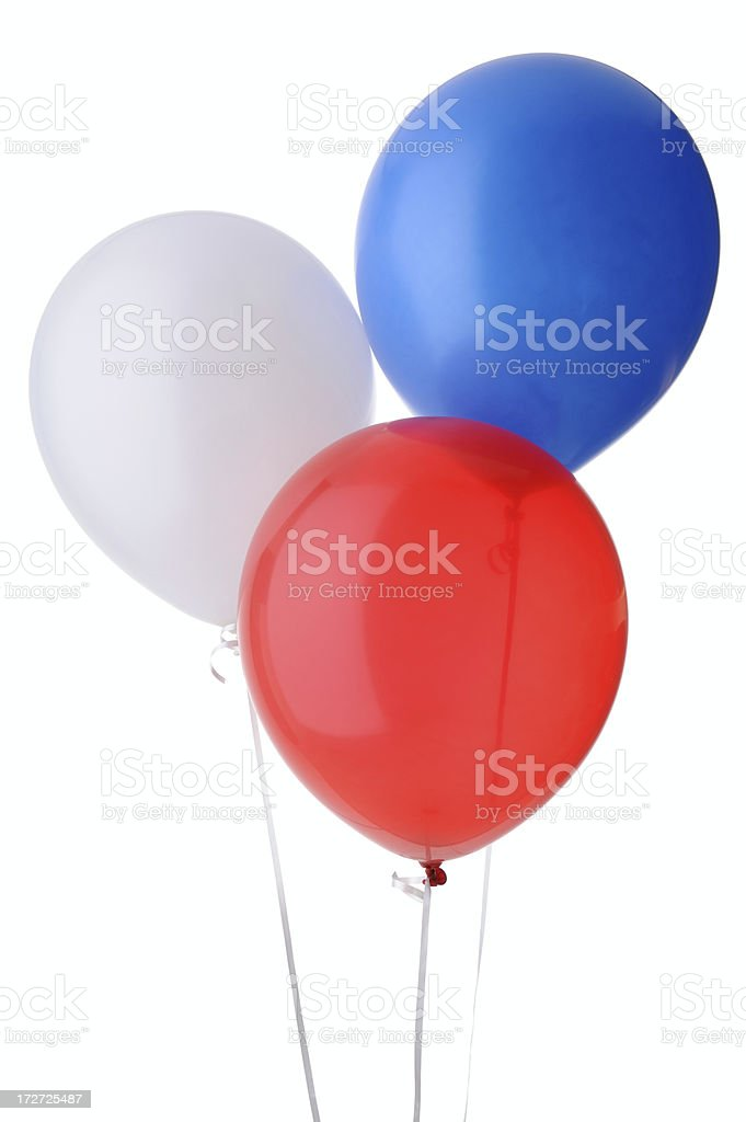 Red, White and Blue Helium Balloons - Isolated royalty-free stock photo
