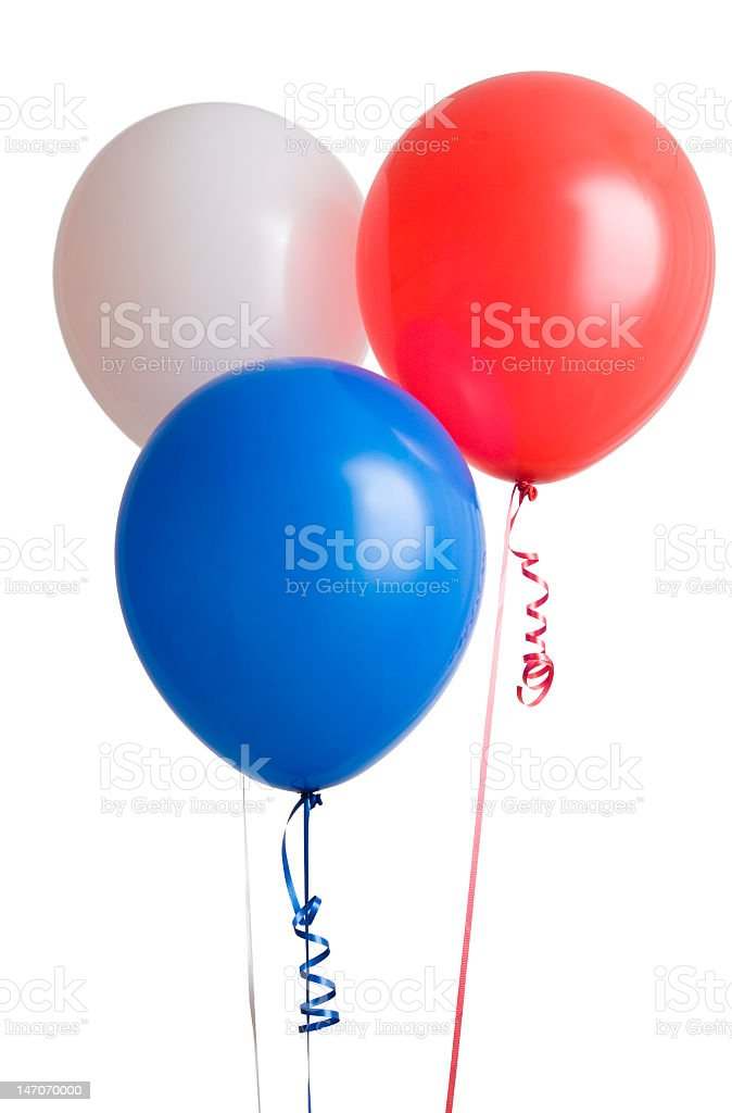 Red white and blue helium balloons stock photo