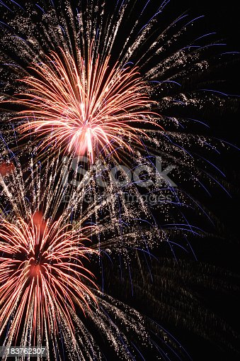 istock Red White and Blue Holiday Fireworks Display 183762307