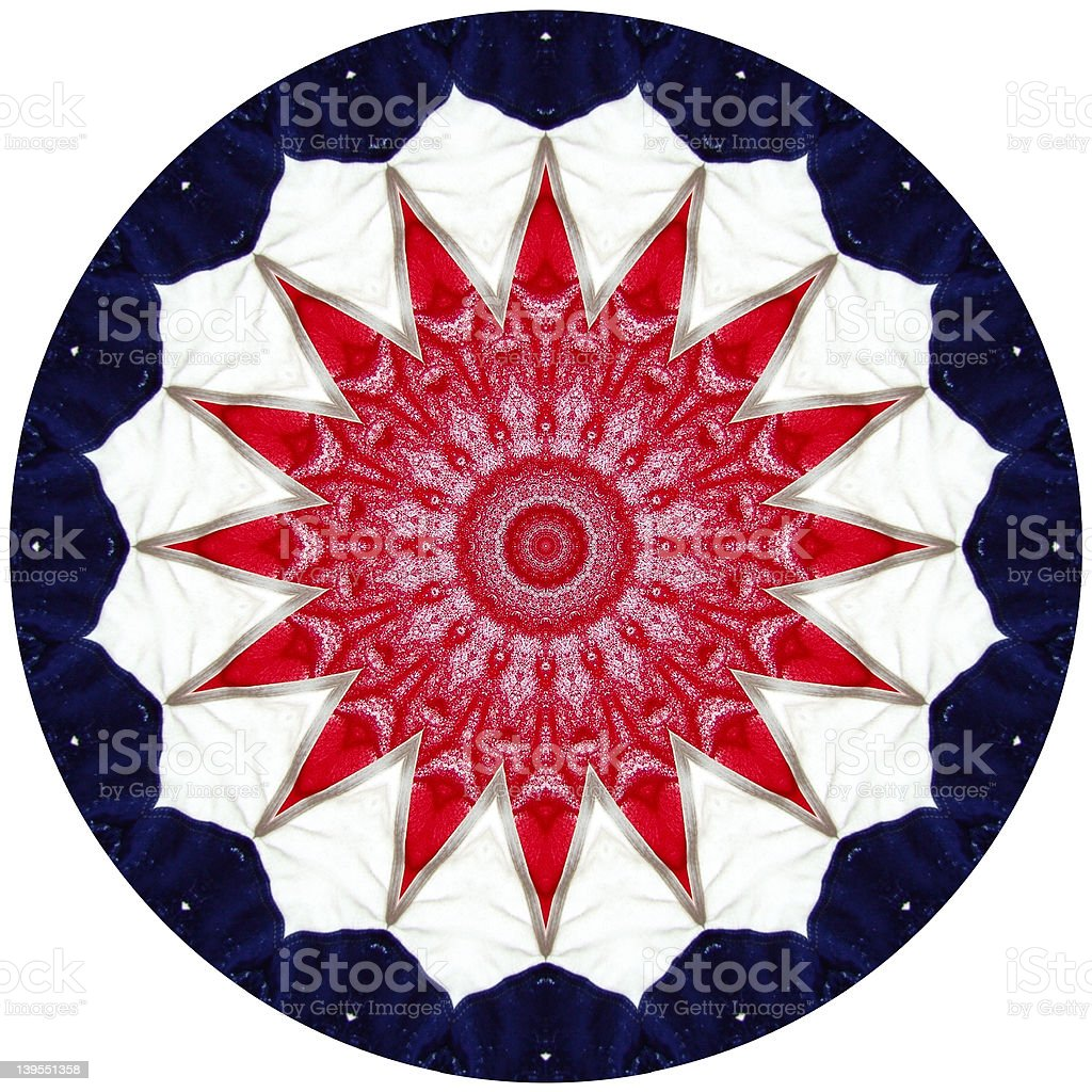 Red White and Blue Kaleidoscope royalty-free stock photo