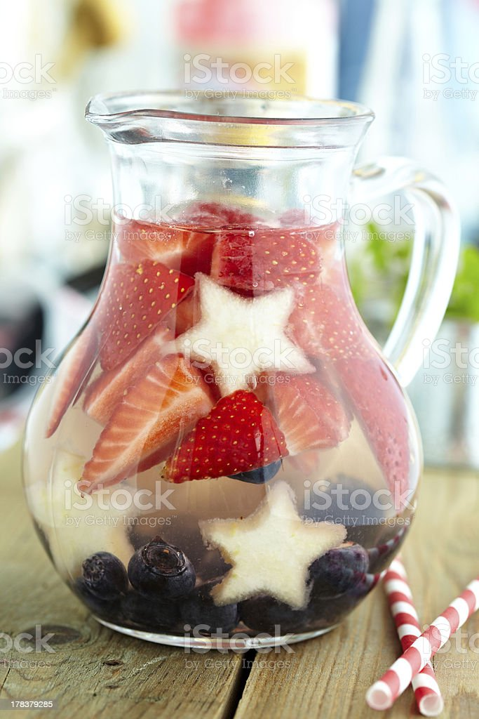 Red, white and blue lemonade stock photo