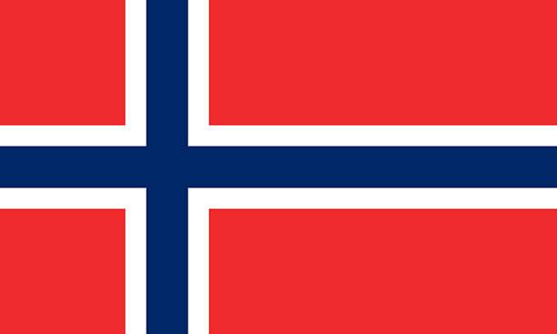 red white and blue norwegian flag - noorse vlag stockfoto's en -beelden