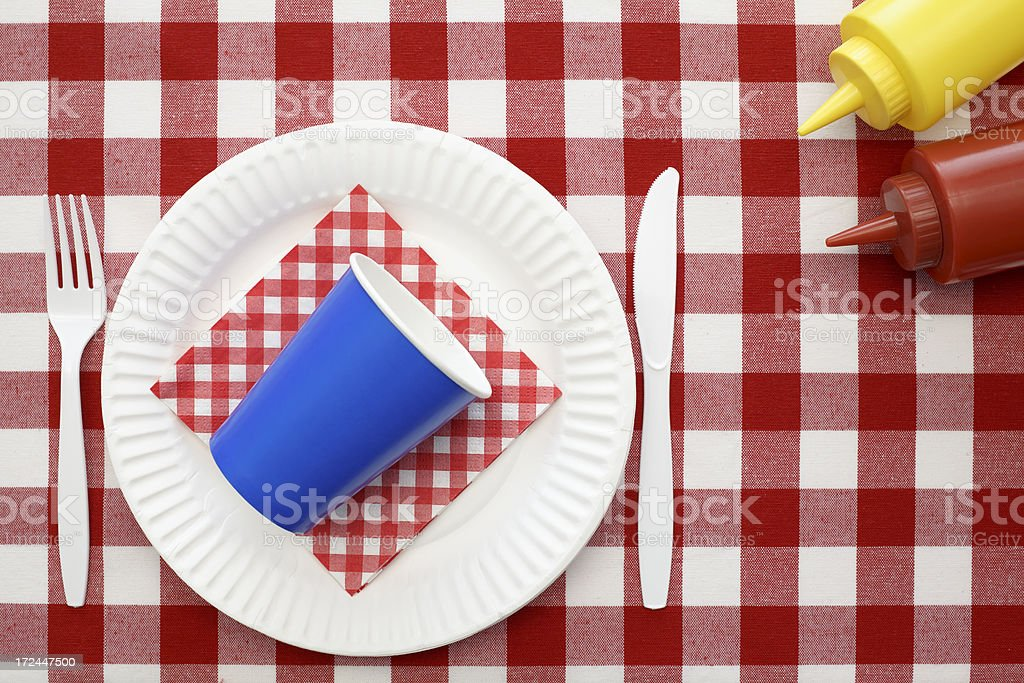 Red White and Blue Picnic Setting royalty-free stock photo