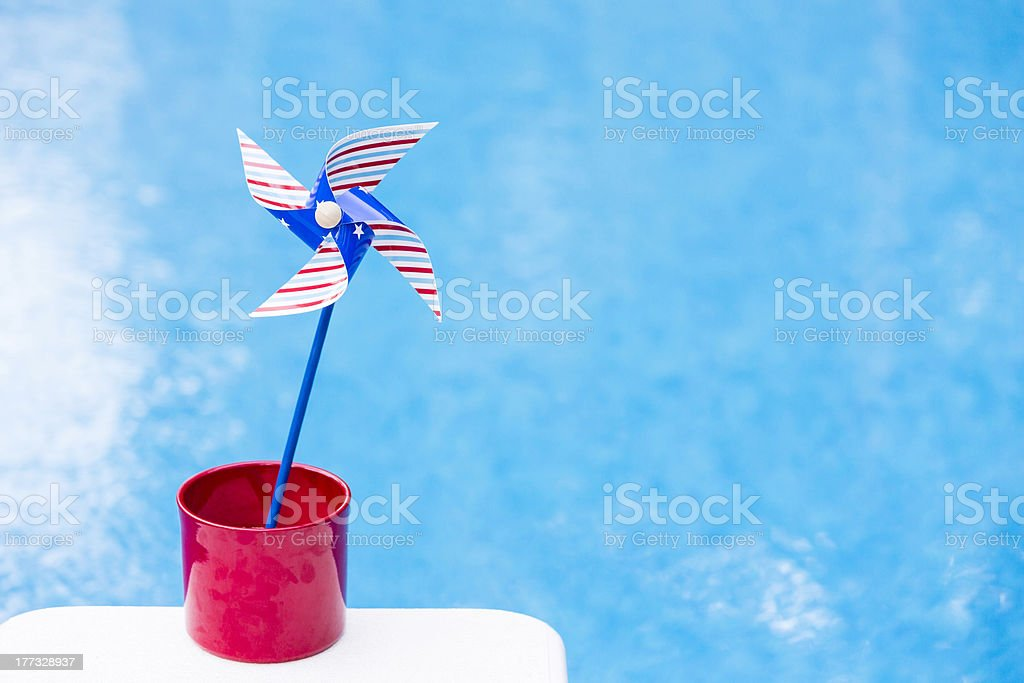 Red, white and blue pinwheel stock photo