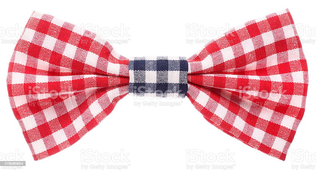 Red white and blue plaid bow tie stock photo