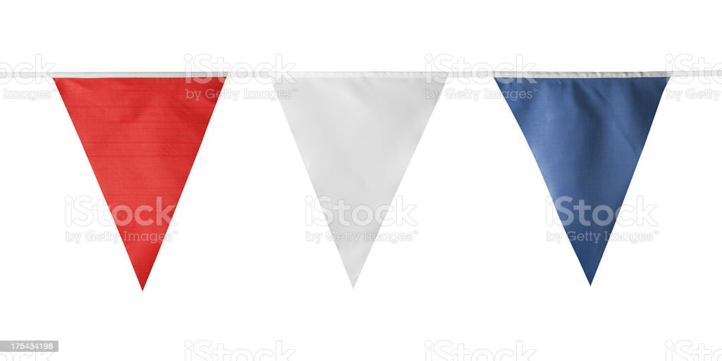 Red, white and blue triangular bunting on white background stock photo
