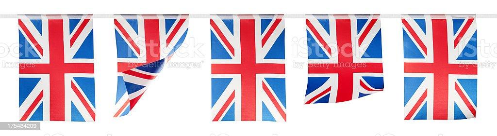 Vermelho, branco e azul union jack Fazendo Bandeirinha sobre fundo branco - fotografia de stock