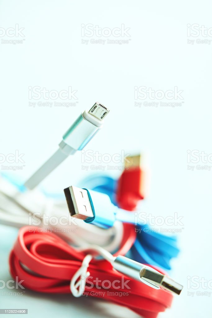 Red, white and blue USB charging cables