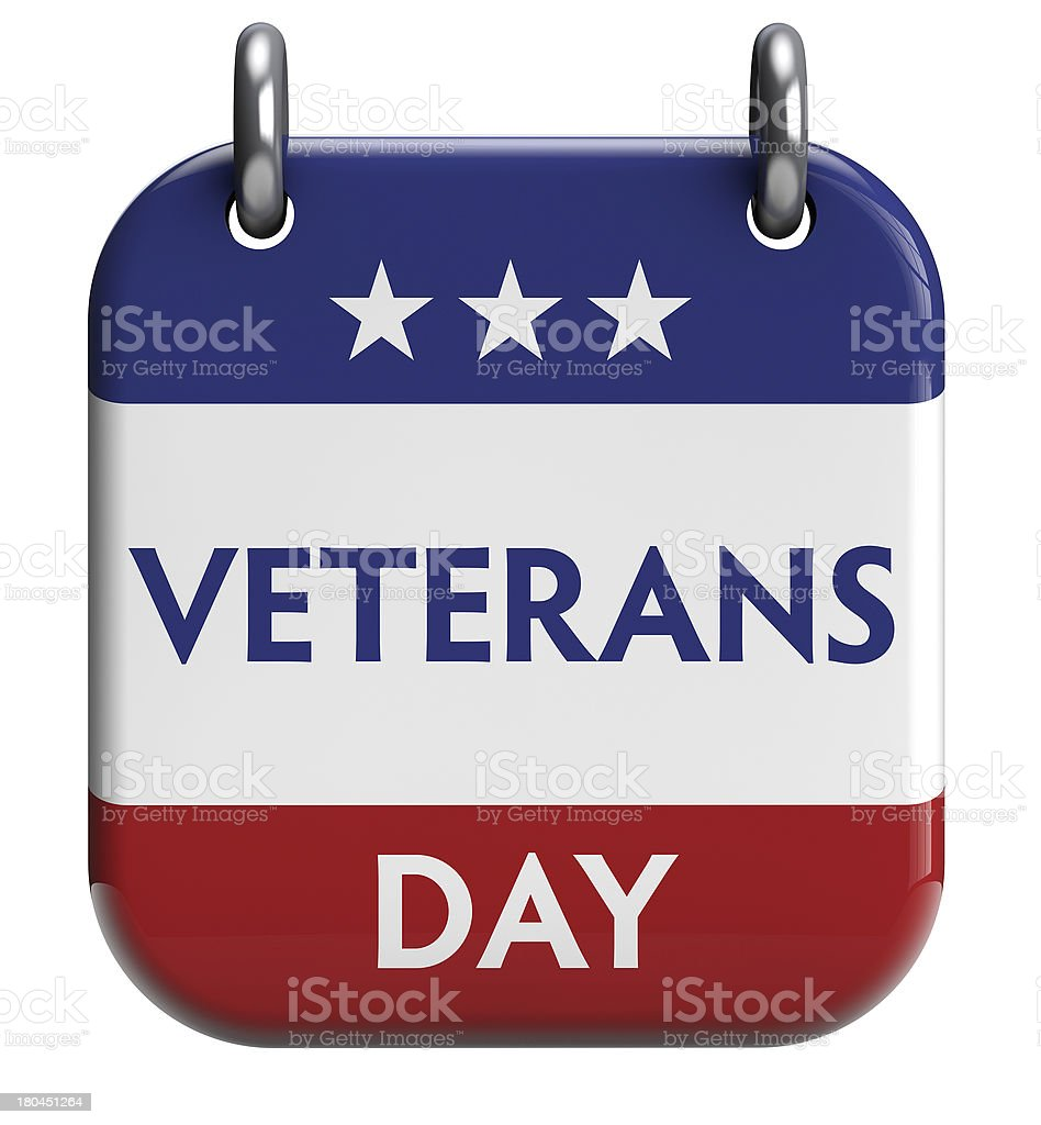 Red, white, and blue Veterans Day sign with stars royalty-free stock photo