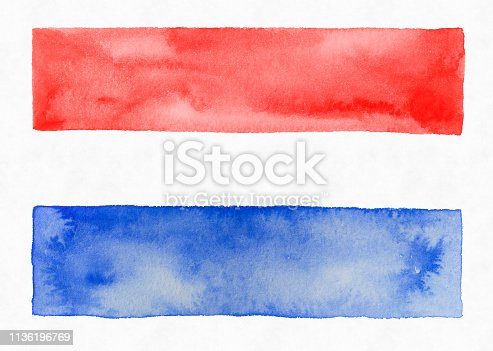 istock Red white and Blue Watercolor Stripes, Patriotic 1136196769