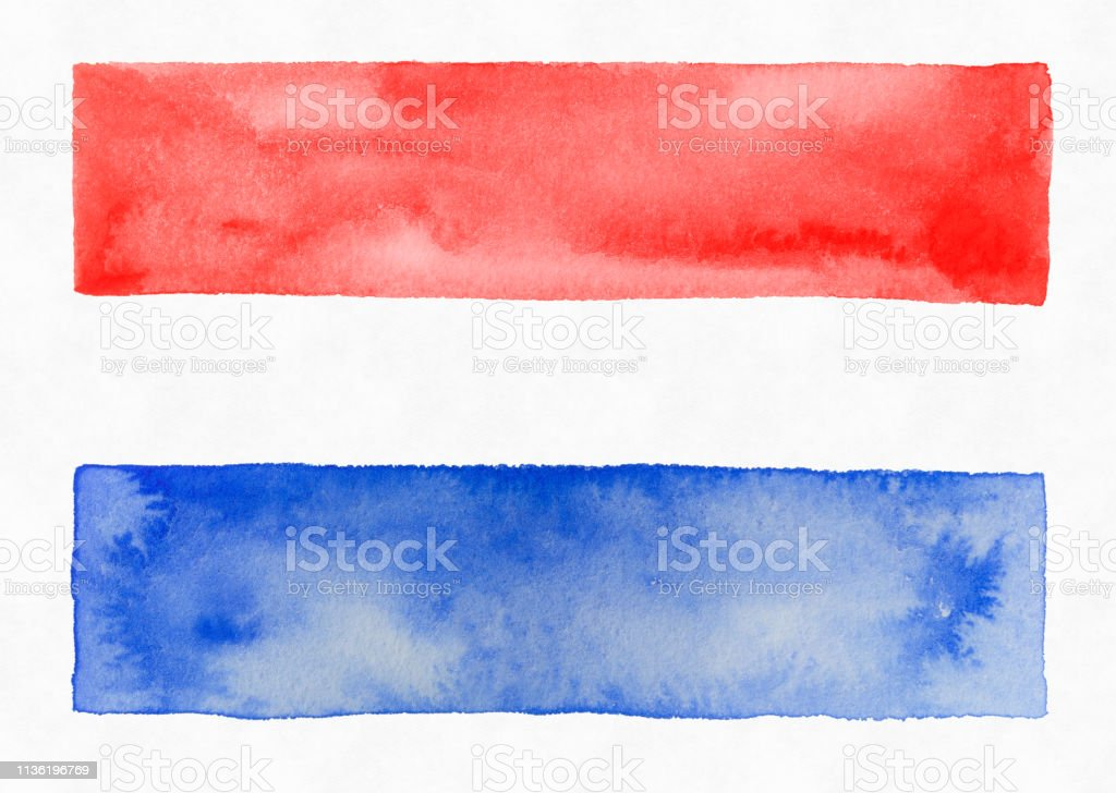 Red white and Blue Watercolor Stripes, Patriotic stock photo