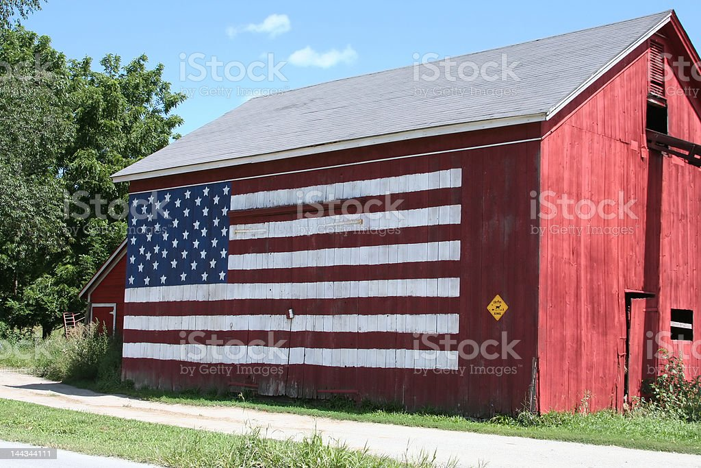 Red ,White & Blue Barn stock photo