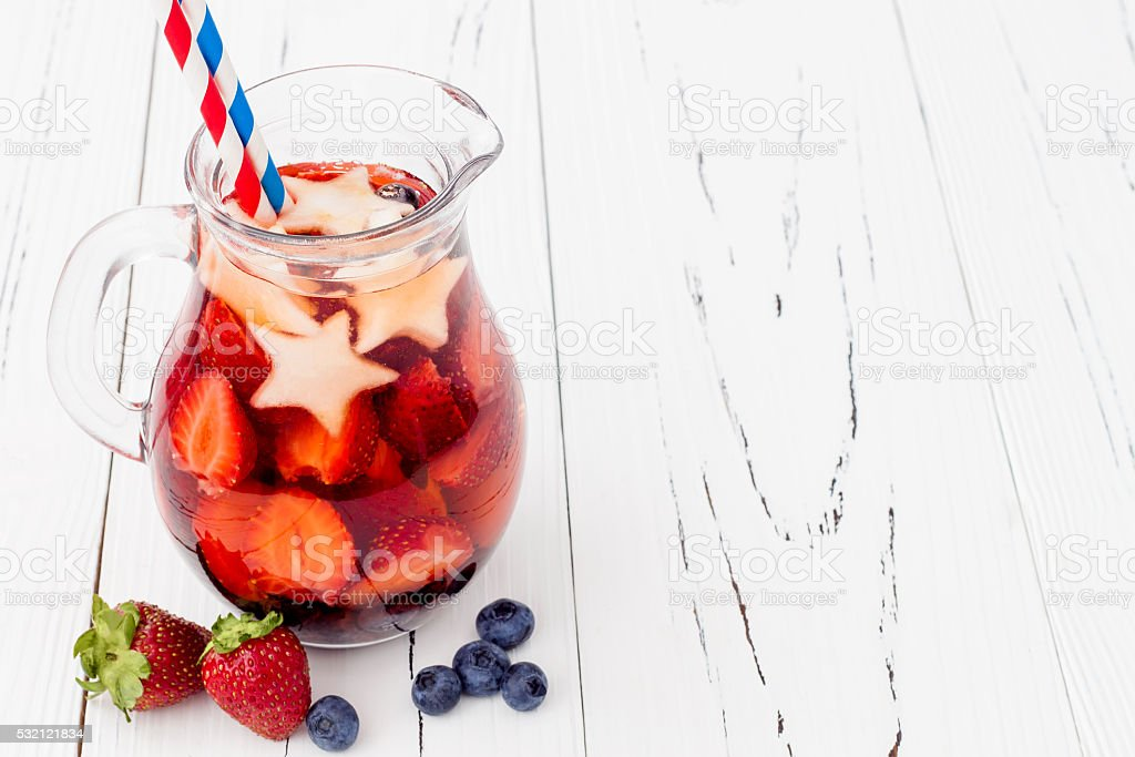 Red, White, Blue cocktail for 4th of July party stock photo