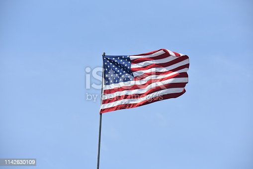 947881968istockphoto Red white blue flag in wind 1142630109