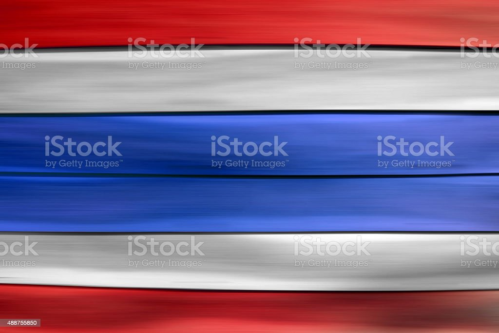 Red white blue Thailand flag  on wood sheet background stock photo