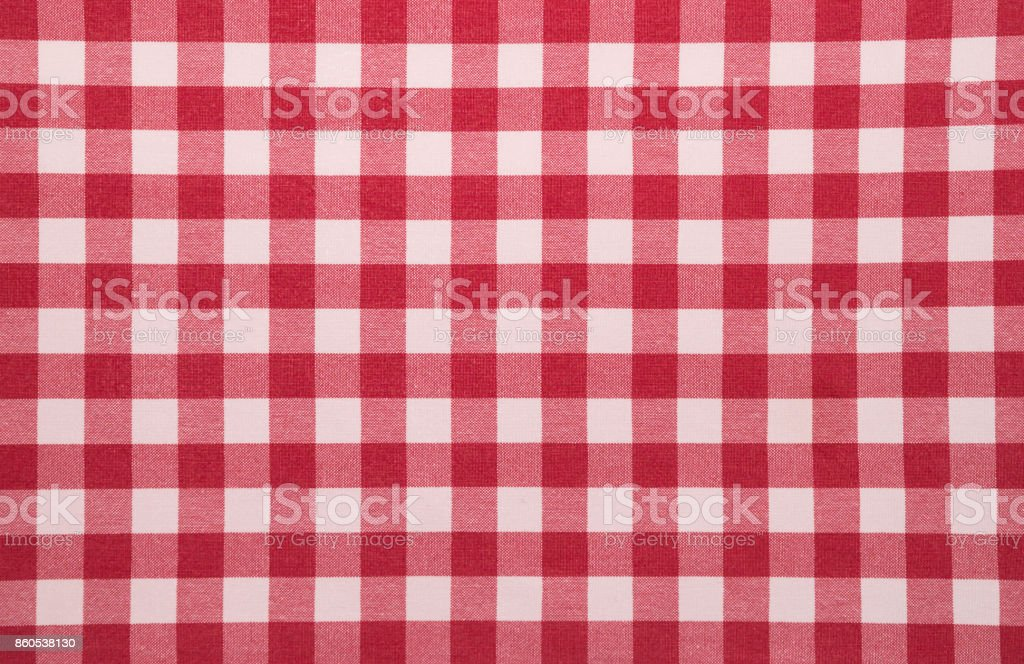Red White Checkered Tablecloth Background Stock Photo