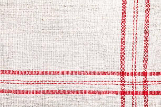 rosso dishtowel bianco tessuto tessile - tovaglia foto e immagini stock