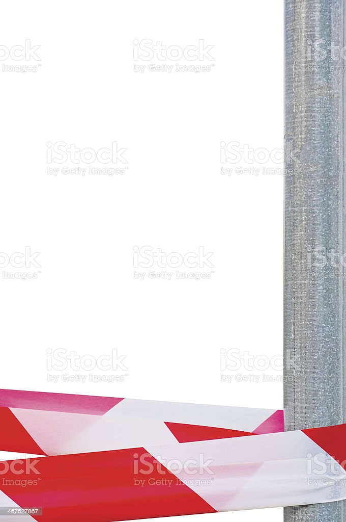 Red White Do Not Cross Headband Ribbon Tape Metallic Post stock photo