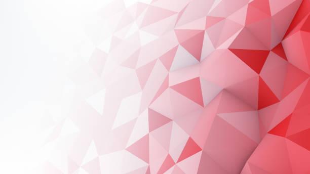 rojo blanco gradiente poligonales superficie abstracta 3d render - geometría fotografías e imágenes de stock