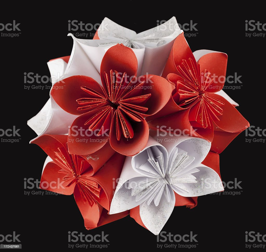 Red white kusudama royalty-free stock photo