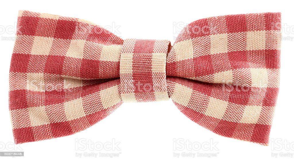 Red white plaid hair bow tie vintage stock photo