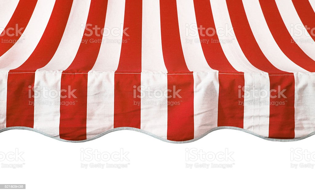 Red white striped awning overhang stock photo