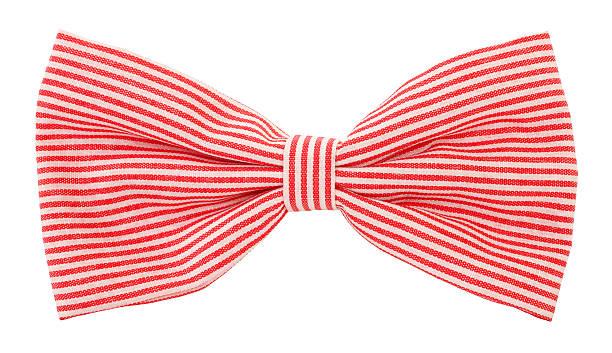Red white striped bow tie stock photo