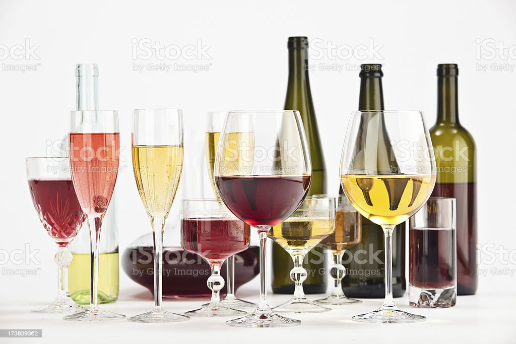 red white wine glasses and bottles isolated  composition royalty-free stock photo